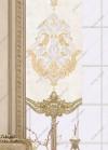 Panel Perde Motifli Kristal Taşlı Baskılı  K.Beyaz - Altın