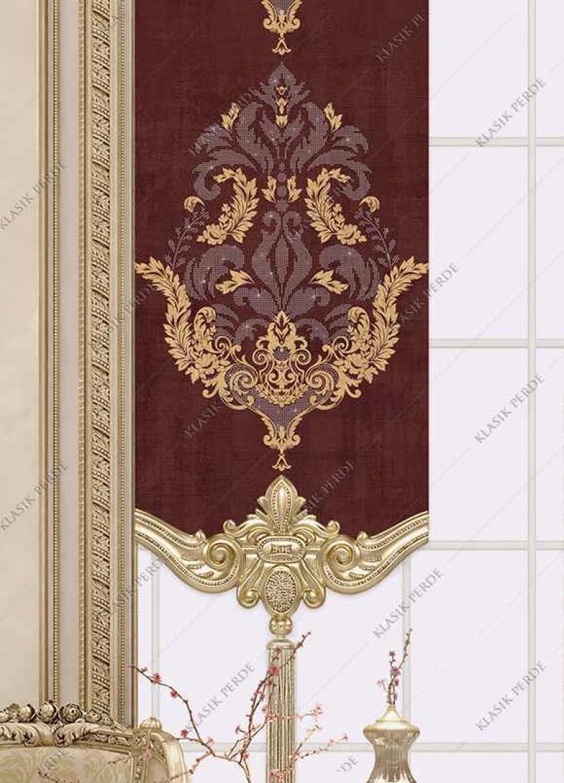 Panel Perde Motifli Kristal Taşlı Baskılı  Bordo - Altın
