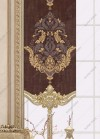 Panel Perde Motifli Kristal Taşlı Baskılı  Kahve - Altın