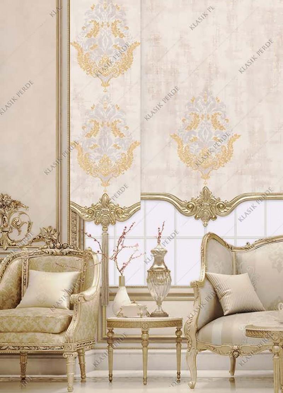Panel Perde Motifli Kristal Taşlı Baskılı  Krem - Altın