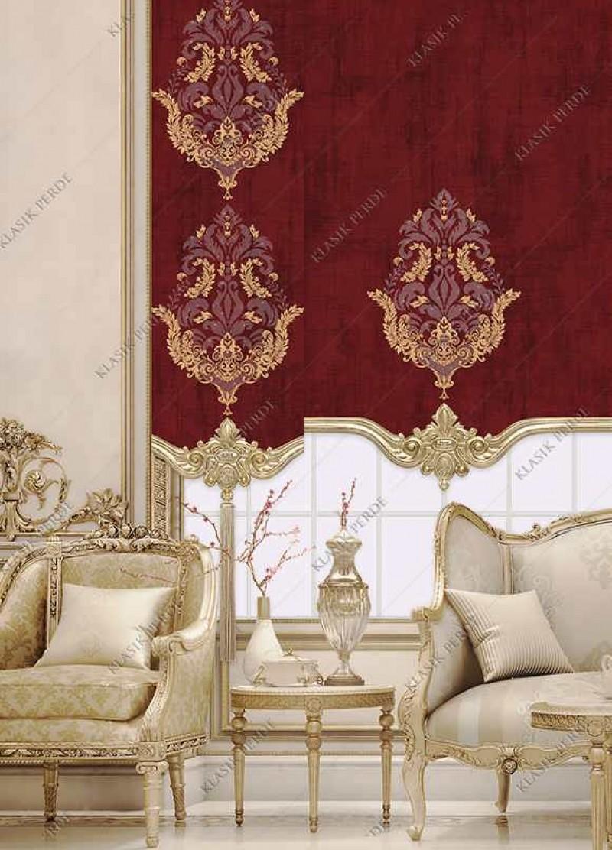 Panel Perde Motifli Kristal Taşlı Baskılı  K.Kırmızı - Altın